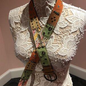 Leather vintage patchwork belt